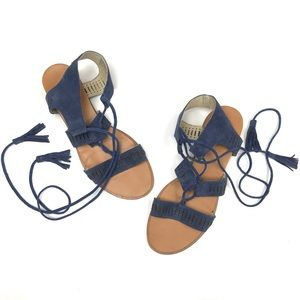 Caslon Lace Up Suede Blue Sandals Sz 8.5